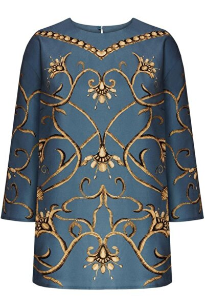 Faberlic Mavi Ampir Desenli Bluz 42 Beden
