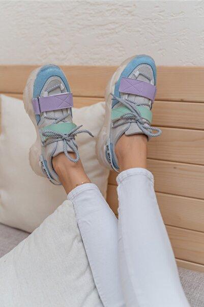 ANGELİNA JONES Kadın Mavi Pembe Cırtlı Sneaker