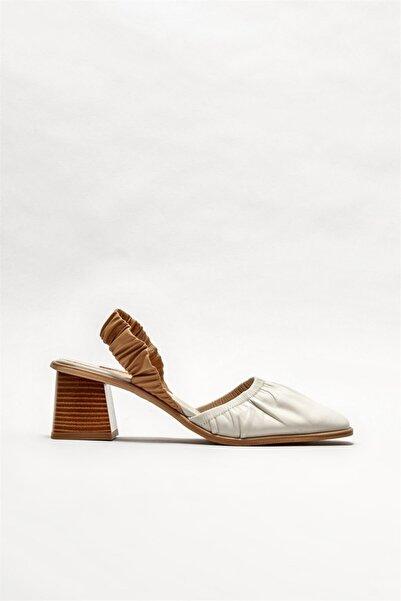 Elle Shoes Kadın Bej Deri Topuklu Ayakkabı