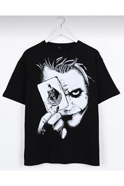 Butik AllıPullu Joker Sırt Baskılı Siyah Oversize Unisex T-shirt