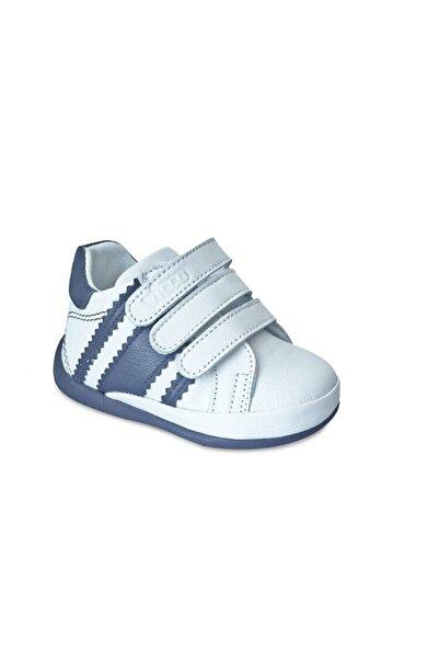 Vicco Erkek Bebek Beyaz Lacivert Deri İlk Adım Ayakkabısı