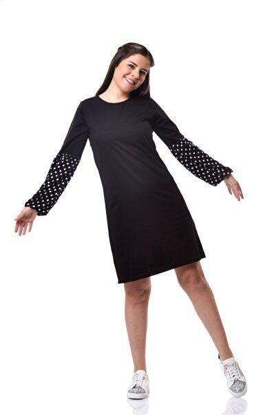 EYLÜL ELİF BUTİK Kadın Siyah Balon Kol Desenli Sweat Elbise