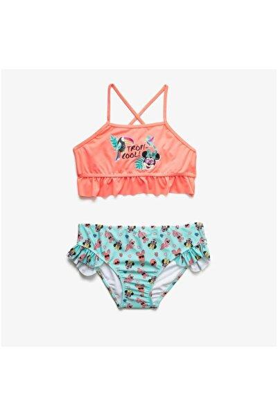 Koton Kız Çocuk Mercan Rengi Minnie Mouse Bikini Takımı