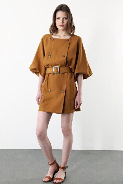 Network Kadın Taba Kruvaze Yaka Beli Kemerli Mini Elbise 1079012