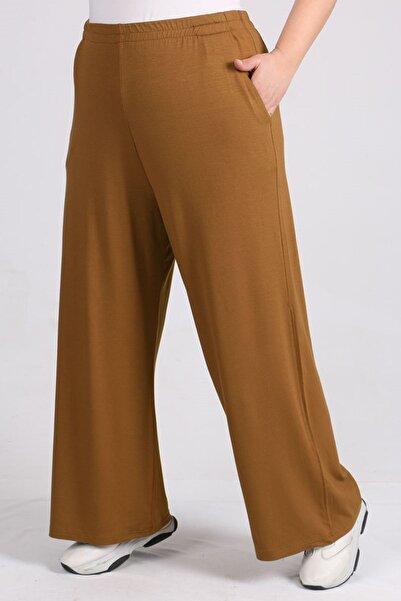 eslamood Kadın Kahverengi Büyük Beden Beli Lastikli Penye Pantolon