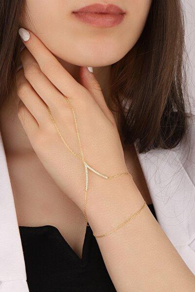 Lia Berto Kadın Altın Kaplama Zirkon Taşlı V Model 925 Ayar Gümüş Şahmeran