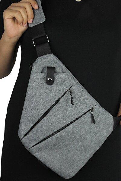 Av A Dos Unisex Gri Kumaş Bel Ve Çapraz Askılı Çanta Göğüs Seyahet Günlük Bodybag