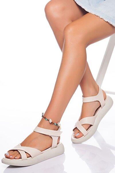 derithy Kadın Ten Sandalet