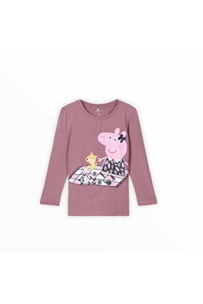 name ıt Kız Çocuk Pembe Peppa Pig Baskılı T-shirt