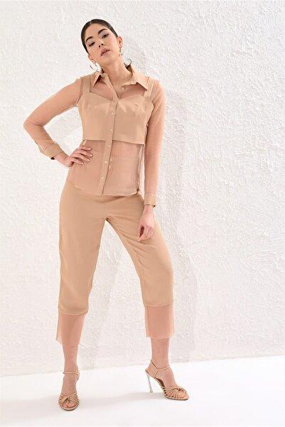 Setre Kadın Camel Yaka Astar Bluzlu Uzun Kol Transparan Gömlek