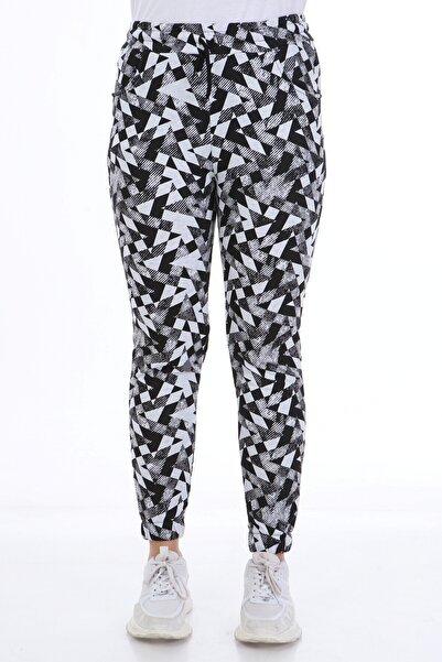 Rodi Jeans Rodi Ds21kb018221 Siyah Kadın Geometrik Desenli Lastik Paça Pantolon