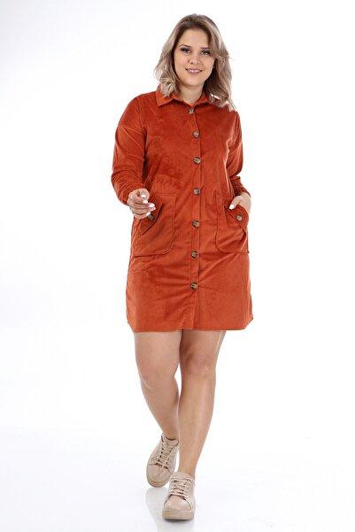 Big Free Tb21kb111453 Kiremit Kadın Kadife Cepli Gömlek Yaka Elbise