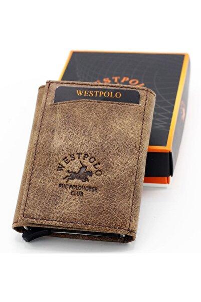 Westpolo Unisex Kahverengi Hakiki Deri Mekanizmalı Cüzdan Kartlık