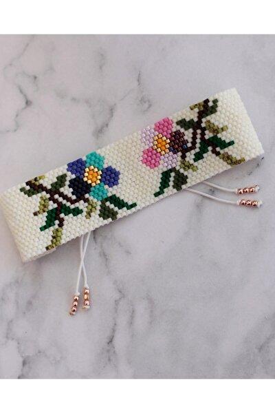 DM Miyuki Kadın Beyaz Çiçek Desen Bileklik