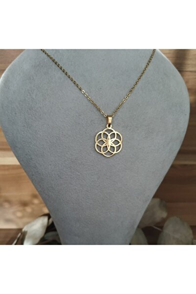 Mammamia Kadın Gold Geometrik Çiçek Çelik Kolye