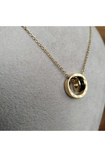 Mammamia Kadın Çelik Kolye Louise Gold Taşlı Roma Rakamlı