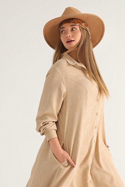 Flowist Kadın Büyük Beden Vizon Kadife Düğmeli Elbise