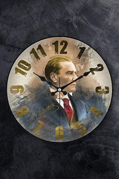 EMORES Gerçek Bombe Cam Akar Saniye Sessiz Mekanizma Dekoratif Atatürk Duvar Saati 36 cm