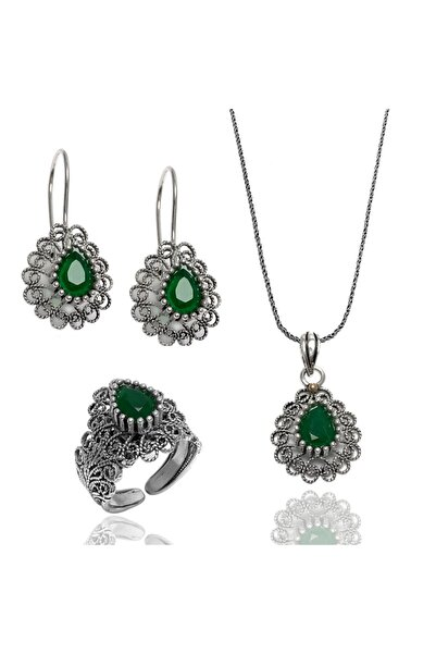 Midyat Gümüş Dünyası Yeşil Taşlı Telkari Gümüş Bayan Üçlü Takım (kod 2020719)