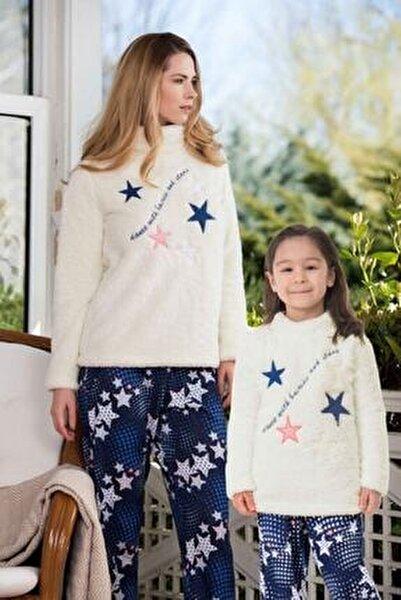 Anne Kız Üstü Polar Altı Pamuklu Pijama Kombini