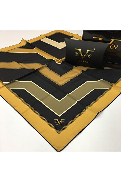 19V69 ITALIA Kadın Sarı Siyah Twill Eşarp Black Seri 90x90 cm ve Eşarp Askısı