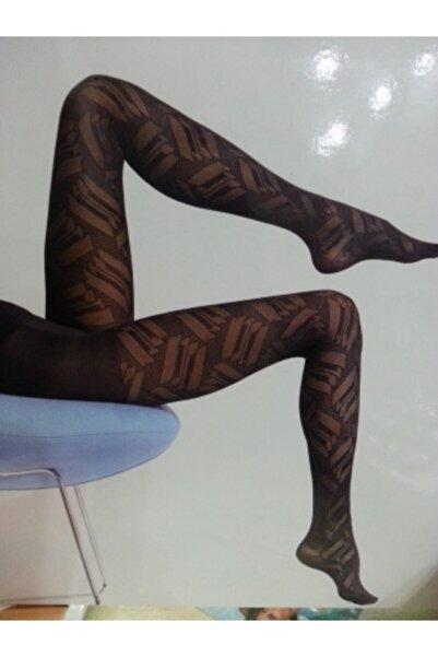 Penti Desenli Külotlu Çorap Amber