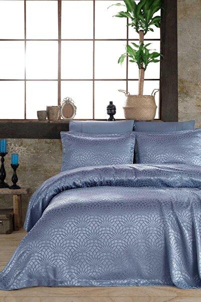 Elart Garden Mavi Çift Kişilik Yatak Örtüsü