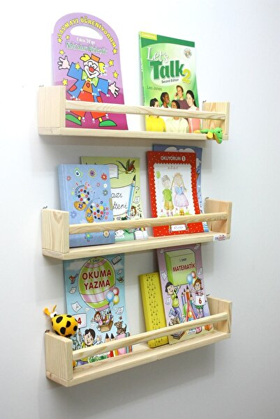 Ceebebek 3'lü Montessori Kitaplık 60 cm Duvar Rafı Bebek Çocuk Odası Ahşap Kitaplık