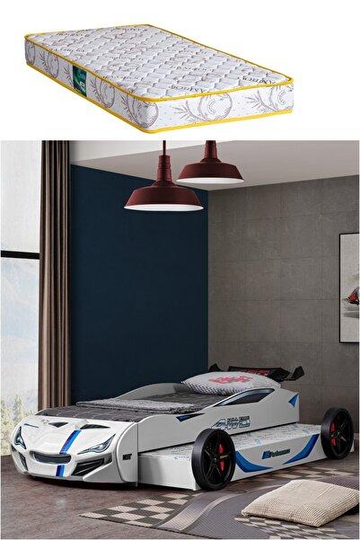 Setay Beyaz Merso Yavrulu Rüzgarlıklı Araba Yatak + Comfort Yatak