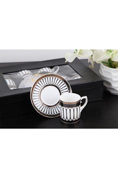 Gönül Kolat Siyah Motifli Kahve Takımı G2149