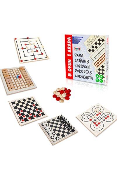 BEMİ Teda Lüks Ahşap 5 Oyun 1 Arada - Beceri Eğitici Zeka Strateji Çocuk Ve Aile Oyunu