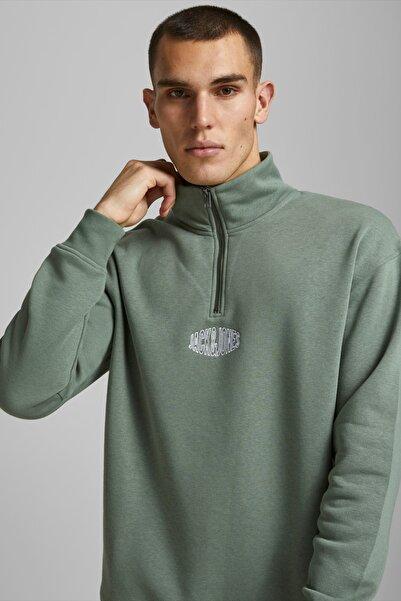 Jack & Jones Erkek Yeşil Yarım Fermuarlı Sweatshirt - 12192610
