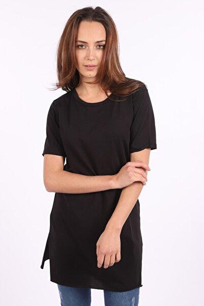 BARRELS AND OIL Kadın Siyah Bisiklet Yaka Yanı Yırtmaçlı Basic T-shirt