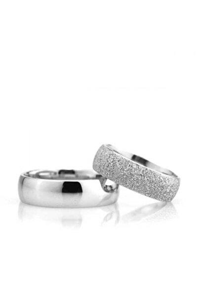 Gümüşcüm Bombeli 6 mm Kumlu Kadın Gümüş Alyans Nişan Ve Söz Yüzüğü