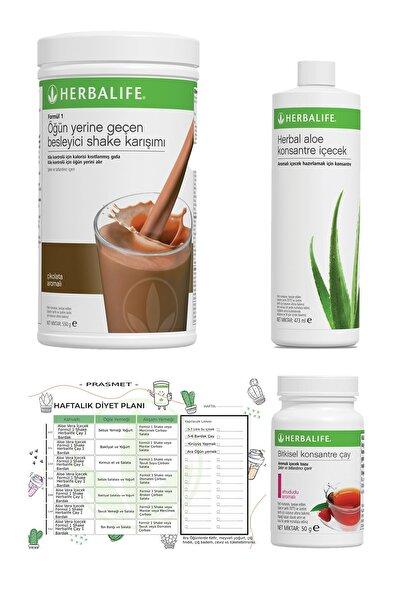 Herbalife 3'lü Set - Çikolata Shake + Ahududu Aroma Çay + Aloe Vera + Diyet Listesi