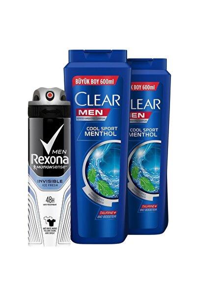 Clear Men Cool Sport Menthol Şampuan 600 Mlx2+rexona Men Invisible Ice Fresh Deodorant Sprey 150 ml