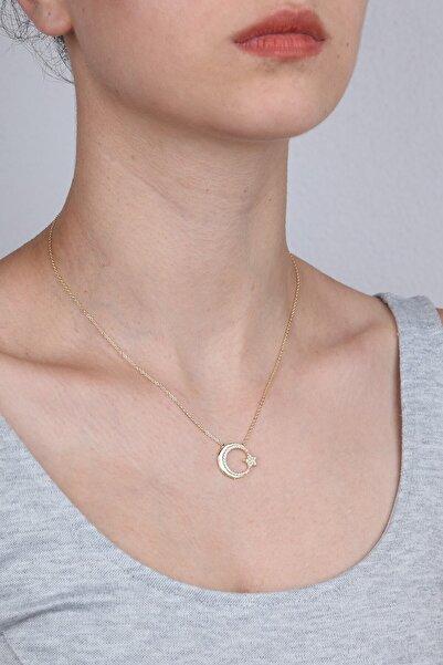 Girabella Kadın Sarı Taşlı Ay Yıldız Kolye