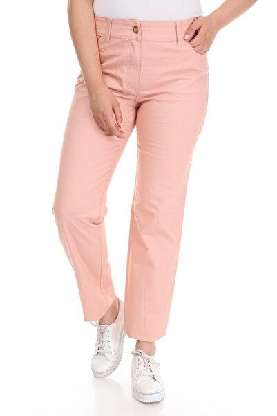 Big Free Kadın Pembe Arka Cebi Taşlı Bol Paça Pantolon UJ