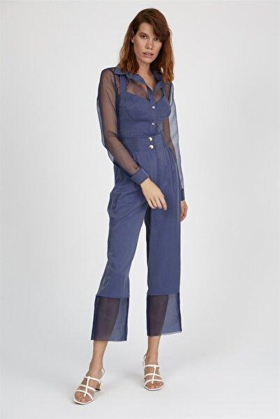 Setre Kadın Lacivert Yaka Astar Bluzlu Uzun Kol Transparan Gömlek