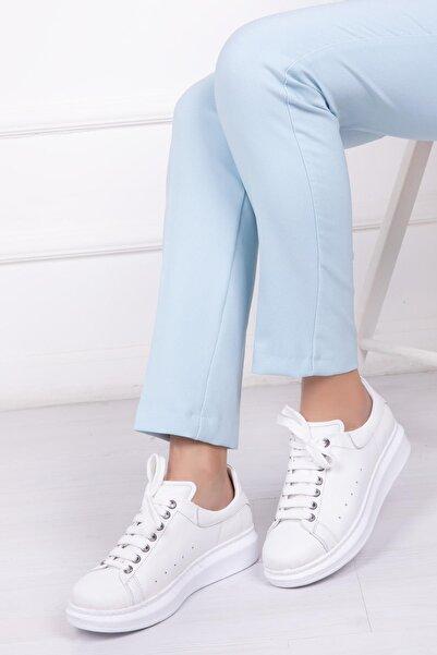 Deripabuc Hakiki Deri Beyaz Kadın Deri Sneaker Trc-0690