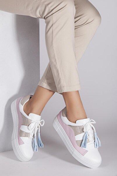 Deripabuc Hakiki Deri Beyaz Pudra Kadın Deri Sneaker Trc-0681