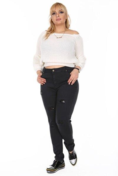 RMG Kadın Siyah Pul Payet Detaylı Kot Pantolon