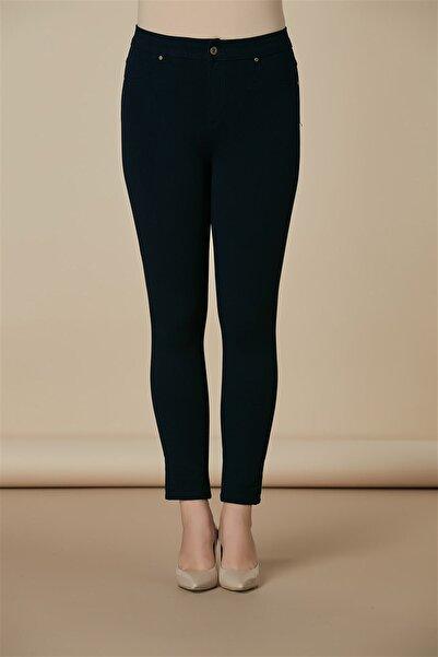 RMG Kadın Lacivert Cep Detaylı Büyük Beden Pamuk Pantolon