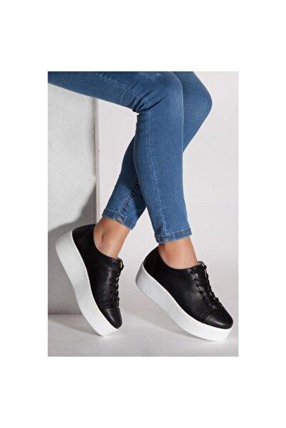 Deripabuc Hakiki Deri Siyah Kadın Deri Sneaker Trc-0605