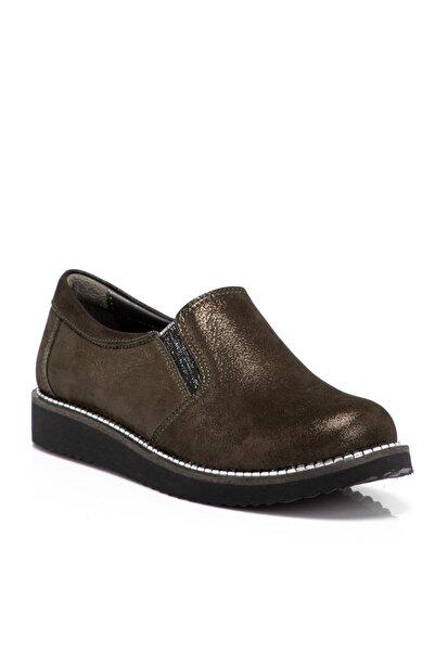 Tergan Haki Deri Kadın Ayakkabı 65206h48
