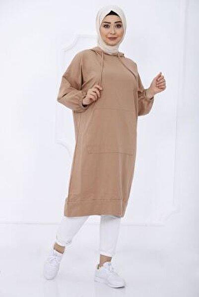 Kadın Kahverengi Cep Detaylı Kapüşonlu Sweat Tunik 2345 1