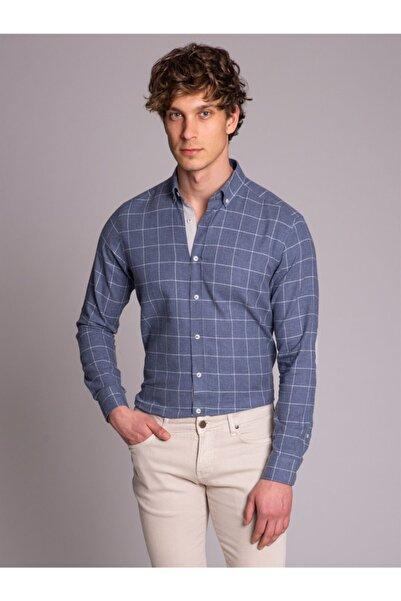 Dufy Mavi Kareli Dirsek Yamalı Erkek Gömlek - Slım Fıt