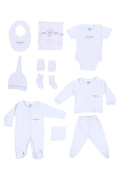 Aziz Bebe Kız Bebek Beyaz Dantel Detaylı 10'lu Hastane Çıkış Seti Azz010230