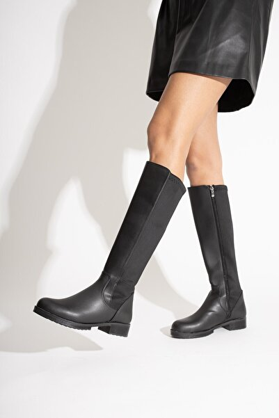 USLUDAN Kavala Siyah Mat Deri Dalgıç Kumaş Detaylı Çizme Us10272