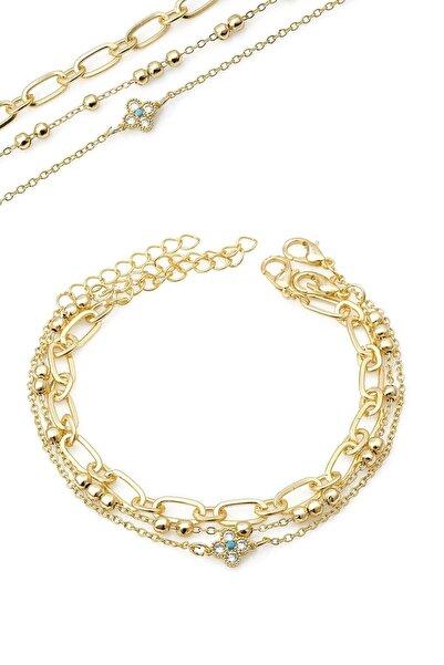 Duke Nickle Kadın Altın 3lü Zirkon Taşlı Bileklik Dbbl3088